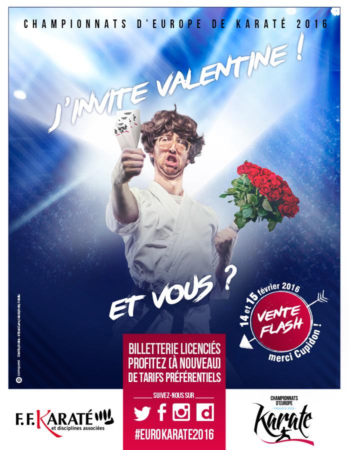 J'invite Valentine ! Et vous ? - Vente flash les 14 et 15 février 2016 réservée aux licenciés FFKDA - EuroKaraté2016