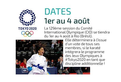 Dates - 1er au 4 août 2016 - Tokyo 2020